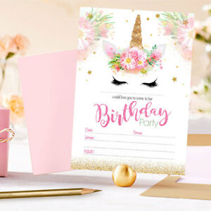Image Is Loading Unicorn Theme Birthday Party Invitations Kids Invites Children