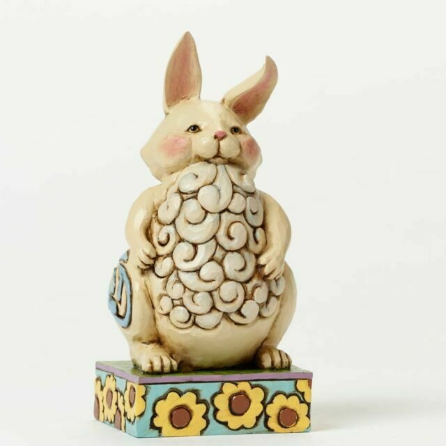 JIM SHORE Unfinished Unpainted BUNNY Sitting Holding Heart Marked R2