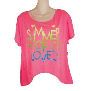 XL T Shirt HOT NEON Pink Shark Bite SUMMER OF LOVE Vintage 15 17 OP New O18