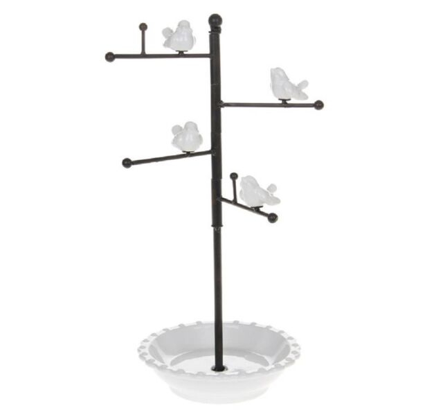 Shabby Chic Pretty CERAMIC BIRDS on PERCH  Metal Jewellery Stand with hooks