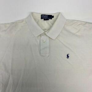 Polo Ralph Lauren Polo Shirt Men's Large Short Sleeve White High Low Hem Cotton
