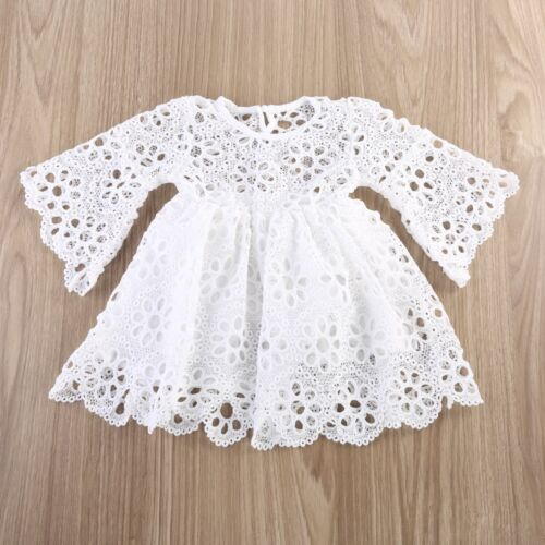 Mother and Daughter Casual Lace Crochet Dress Women Kids Girls Matching Clothes