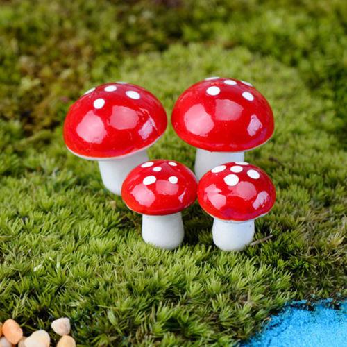 20X Miniature Mushroom Bonsai Craft Garden Ornament For Plant Pots Fairy Garden