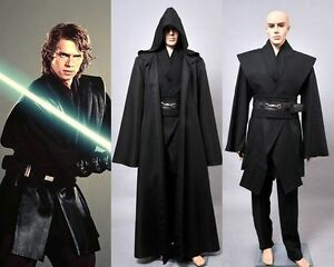 Image is loading Dark-Jedi-Sith-Darth-Vader-Adult-Black-Costume-  sc 1 st  eBay & Dark Jedi Sith Darth Vader Adult Black Costume Cloak Robe Cosplay ...
