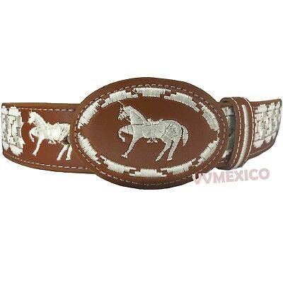 MENS MEXICAN EMBROIDERED WESTERN PITEADO GRABADO BELT SIZES 32-44