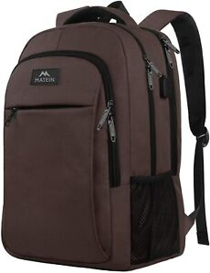 "Matein Men's Brown 15.6"" Anti-Theft Travel Laptop Backpack School Bag USB Port"