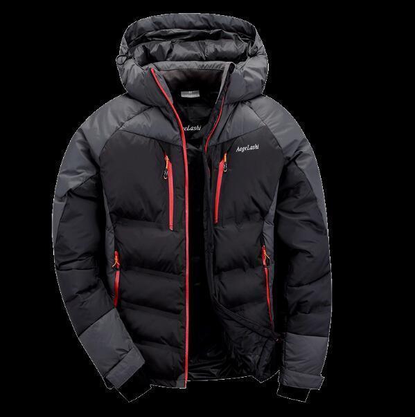 Pato de invierno abajo Capa de capucha para hombre Escalada chaqueta de esquí Escudo exterior trinchera outwear