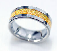 8mm Mens Solid Tungsten Carbide Gold Sand Inlay Wedding Ring Band Engagement