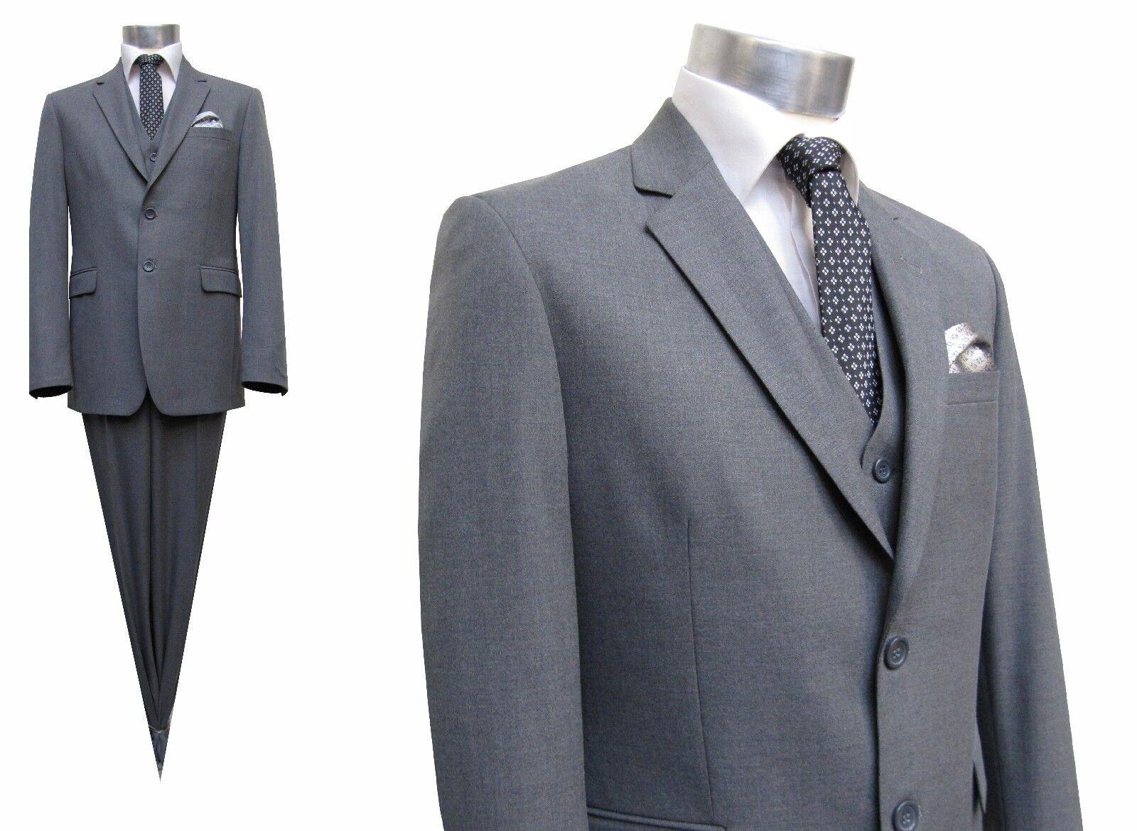 Herren Anzug mit Weste Elegant Gr.70 Grau