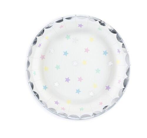 12 Stk Pappteller Sterne UNICORN Einhorn 18cm Sterne bunt Kindergeburtstag Party