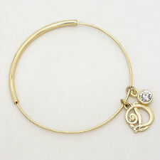 "Monogram Charm Bracelet Bangle GOLD .75"" Letter D Initial Bangle Metal Jewelry"