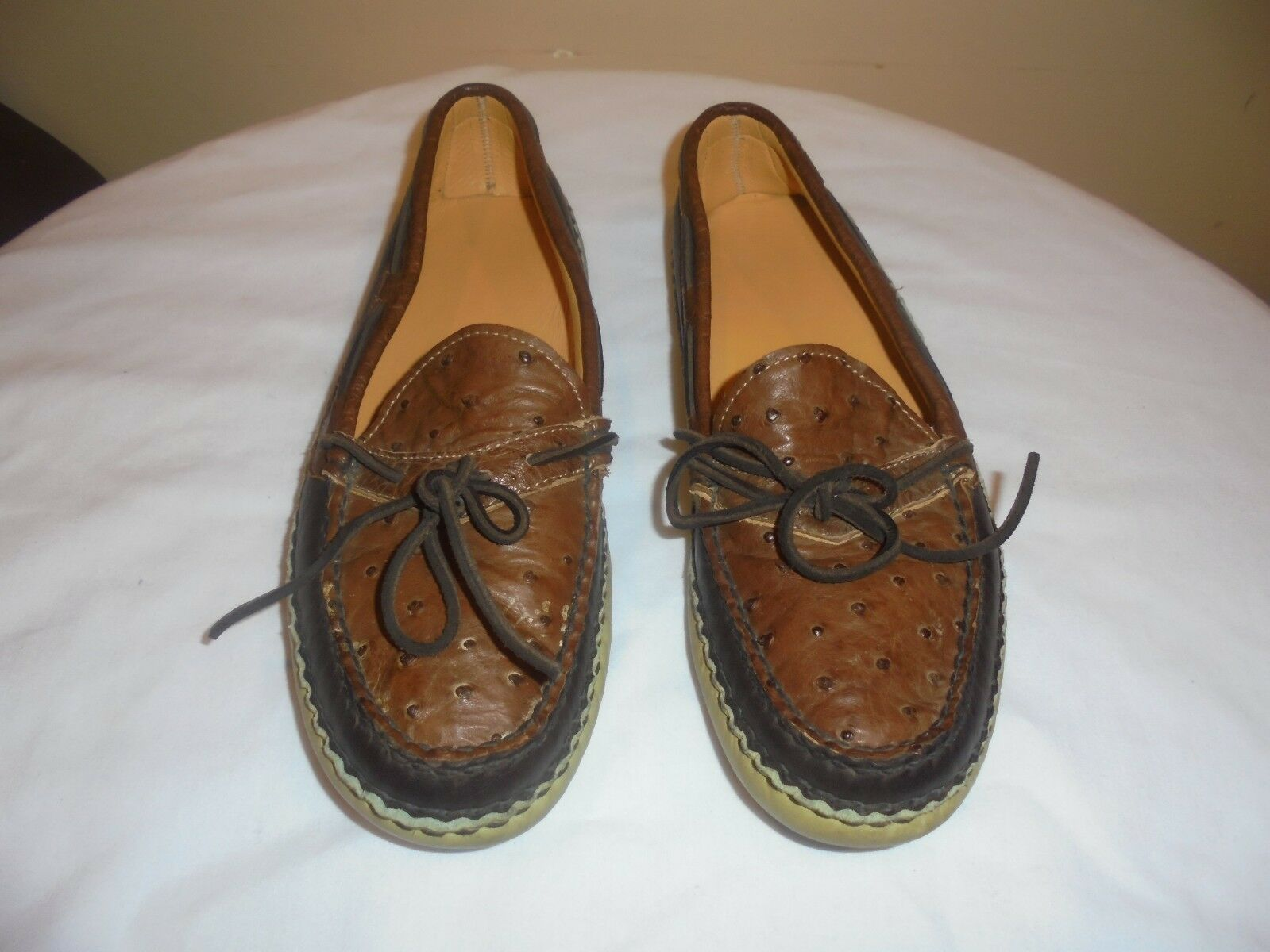 EUC Willy Mocs Dempsey Creek T130 Ostrich Moccasins Mens Dimensione 9 D