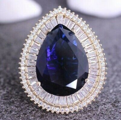 4ct Genuine Blue Star Sapphire 925 Sterling Silver Ring w Natural Zircons,Halo