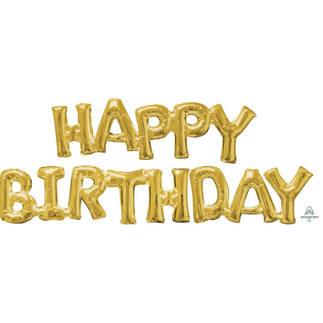Gold Happy Birthday Foil Party Phrase Letters Words Air Balloon Decoration