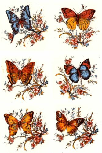 "6 Butterfly Butterflies Flowers 2/""  Waterslide Ceramic Decals Xx"