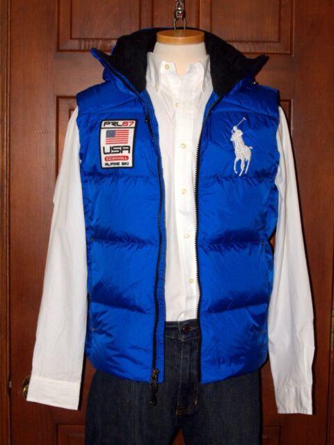 Polo Ralph Lauren Big Pony Hooded Down Vest Blue   Polo Pony S M L XL XXL NWT