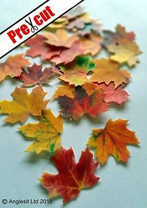 PRE-CUT-MAPLE-LEAVES-AUTUMN-FALL-EDIBLE-WAFER-PAPER-CUP-CAKE-TOPPER-DECORATIONS