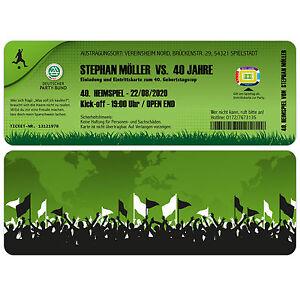Das Bild Wird Geladen Einladungskarten Zum Geburtstag Als Fussball  Ticket Eintrittskarte Einladung