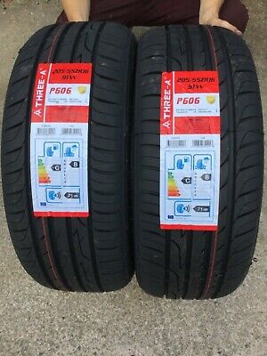 4 TYRES 4 X New 205 55 16 91W THREE A P606 205//55R16 2055516 *C//B RATED*
