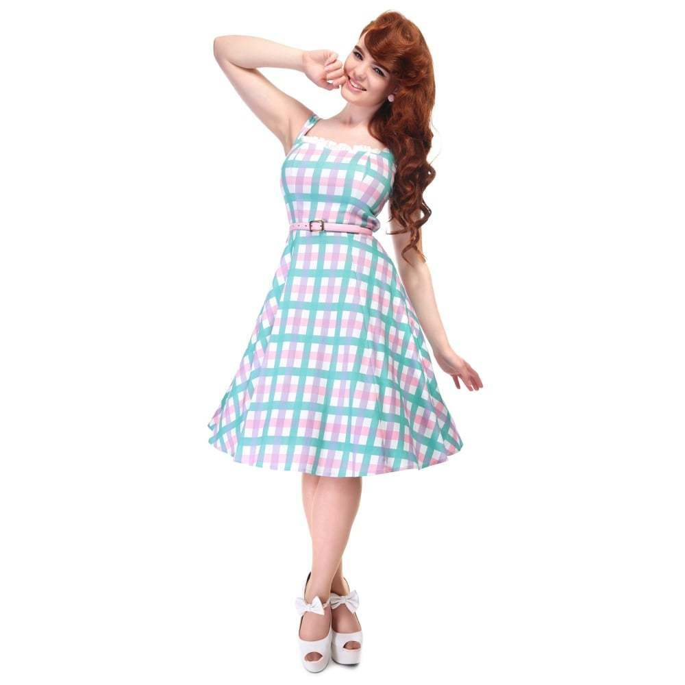 Collectif Vintage Mainline Candy Gingham Swing Dress  Sz 8 - 22 1950s Pastel