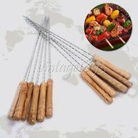 12pcs Stainless Steel BBQ Skewers Barbeque Kabob Needle Wood Handle Picnic Tool