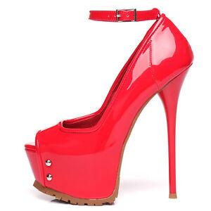 Giaro MADISON red shiny peep toe high heel pumps