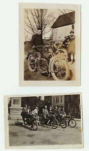 LOT of 2 - 1918 Orig Photos Harley Davidson & Others motorcycle- Painted Post NY