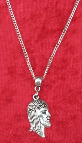 """18/"""" or 24 Inch Chain Necklace /& Jesus Face Pendant Christ Charm Holy Religious"""