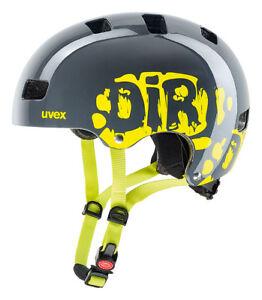 Uvex-Kid-3-Kinder-Dirtbike-Skate-Fahrrad-Helm-grau-gelb-2019