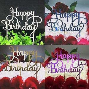 Pleasant 2Pcs Simple Glitter Happy Birthday Modern Birthday Party Cake Funny Birthday Cards Online Inifodamsfinfo