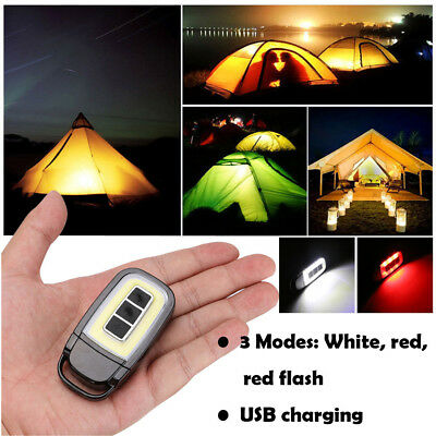 COB LED Portable PVC Lamp Light Flashlight Torch With Magnetic Belt Clip BK