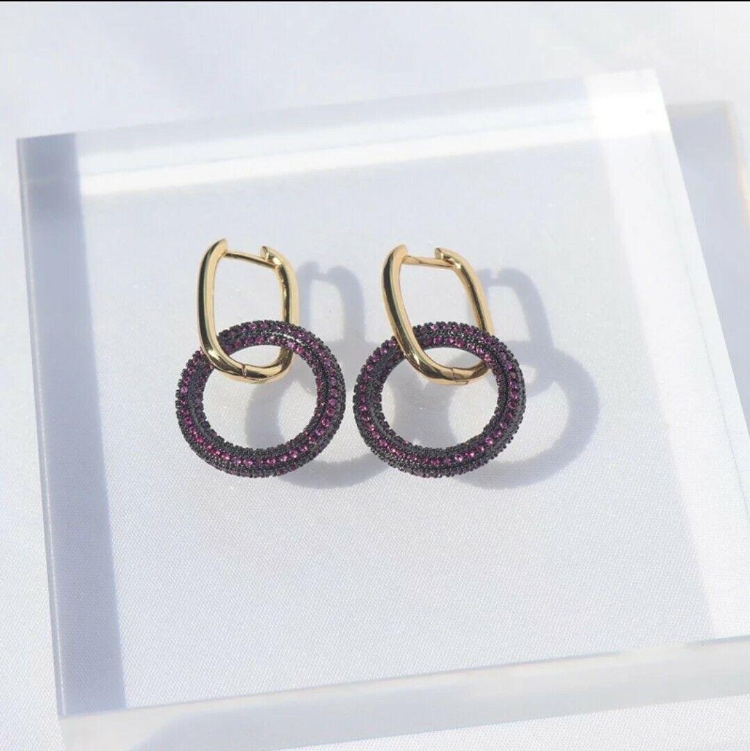 -we❤- High End Drop Link Hoop circle Earrings cz Monaco zara style