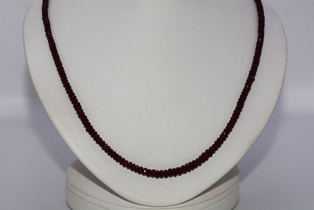 $1,000 67.21CT NATURAL RONDELLE CUT RED RUBY SLIGHTLY GRADUATED NECKLACE SILVER