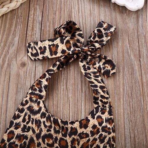 Newborn Leopard Print Romper Infant Baby Girls backless Floral Romper Dress BS