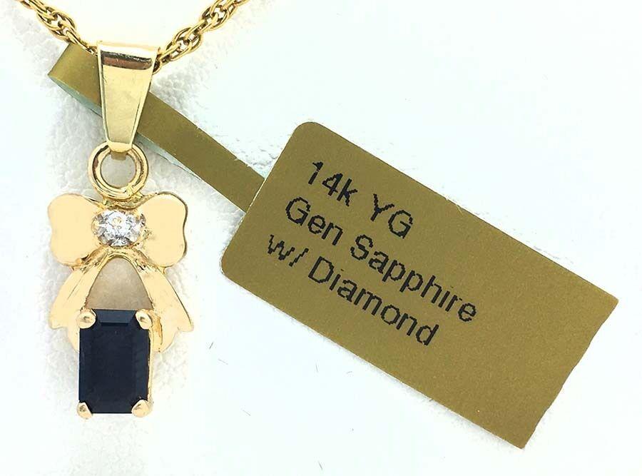 GENUINE 0.85 carats blueE SAPPHIRE & DIAMONDS 14k gold PENDANT  FREE Appraisal