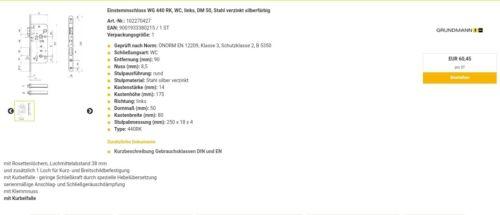 WC Einstemmschloss Rechts WG 440 RK DM 70 Grundmann VK Liste €60,45