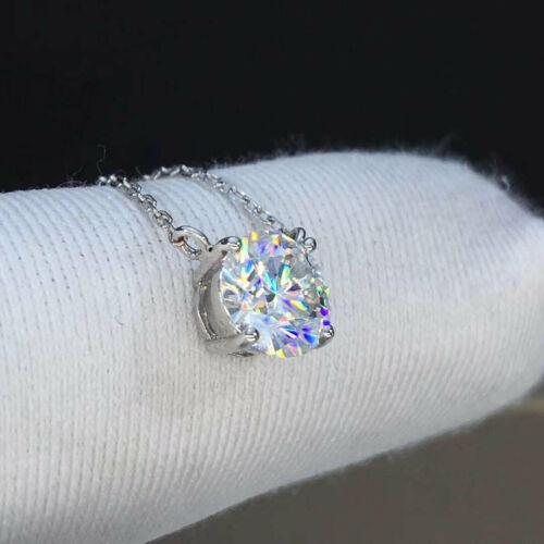 2Ct Round Cut VVS1 Diamond Solitaire Pendant In 14K White Gold Finish Free Chain