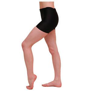 BLACK VELVET DANCE SHORTS velour Gym Hot Pants leotards ballet salsa yoga AA