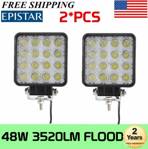 2X 48W Flood LED Work Light for Offroad Truck Jeep Fog 4WD Boat Driving UTE 27W