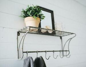 """Wire Wall Shelf with Hooks 24""""~Coat Rack~Mud Room~Vintage Style Farmhouse"""