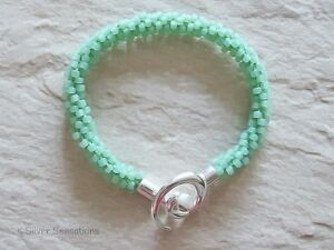 Frosted-Pastel-Mint-Green-Kumihimo-Seed-Bead-Fashion-Bracelet-Gift-For-Her