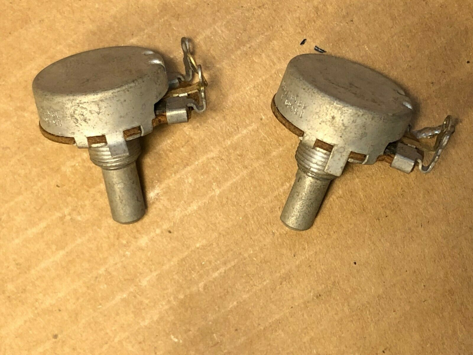Matched Pair Vintage 1969 CRL 25k ohm Audio Taper Guitar Potentiometers