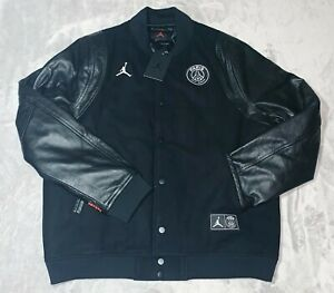 Details zu Jordan X PSG Paris Saint Germain Bomber Leather Jacket Black Sz Large BQ8363 010