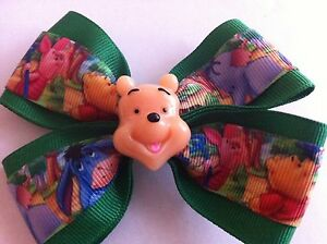 """Girls Hair Bow 4/"""" Wide Winnie the Pooh Green Ribbon Piglet French Barrette"""