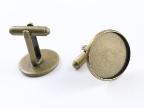 10pcs Bronze Plated Cufflink BlanksChoice of 6 Sizes