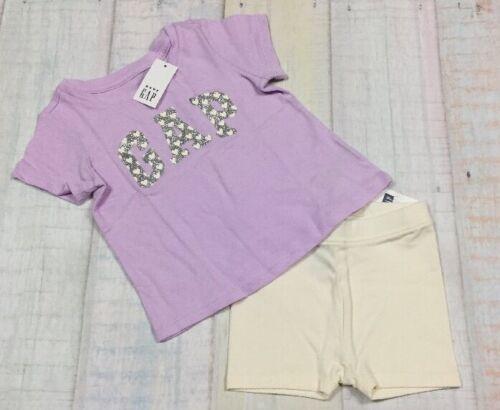 Baby Gap Girls 12-18 Months Outfit Purple GAP Logo Shirt /& White Bike Shorts Nwt