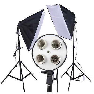 New Photo Studio Softbox 4 Socket E27 50 x 70cm Video Lighting Kit Photo