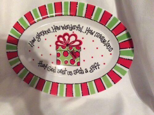 Carla Grogan Christmas God/'s Gift Melamine Oval Tray