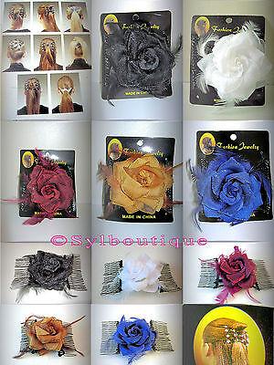 Peigne Double Orné d'une Rose Pailletée av Plumes: Noir/Blanc/Bordeaux/Miel/Bleu