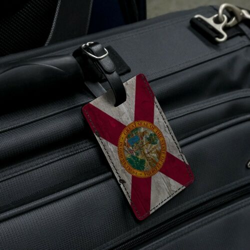 Rustic Florida State Flag Distressed Rectangle Leather Luggage Card ID Tag
